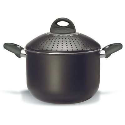 Pensofal Platino Stock Pot with Lid Size: 5 qt., Color: Black