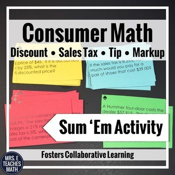 Consumer Math Sum Em Activity | Math, Activities and Students