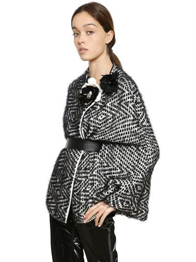 LANVIN Tweed Effect Silk Blend Knit Cape & Belt, Black/White. #lanvin #cloth #coats