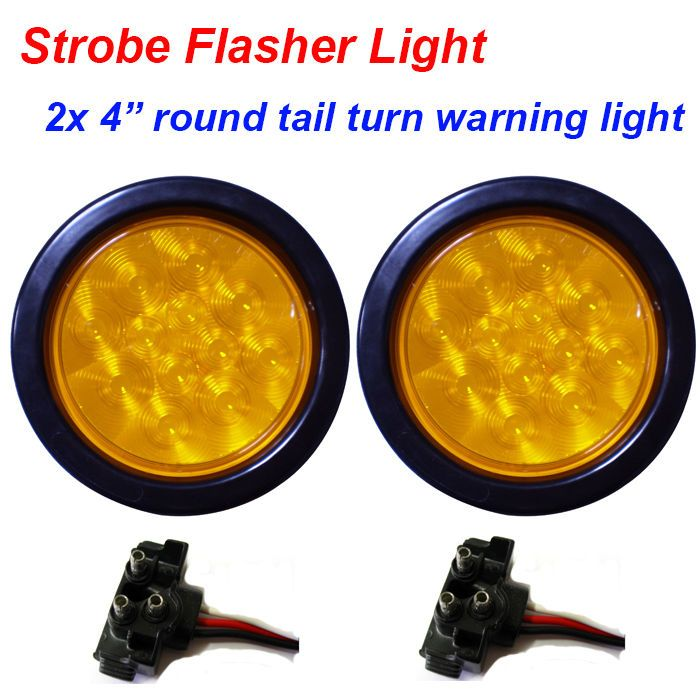 Details About 2x 4 Quot Round Amber Truck Tail Turn Strobe