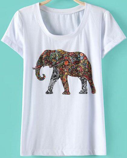 more elephant wear white short sleeve rhinestone elephant t shirt