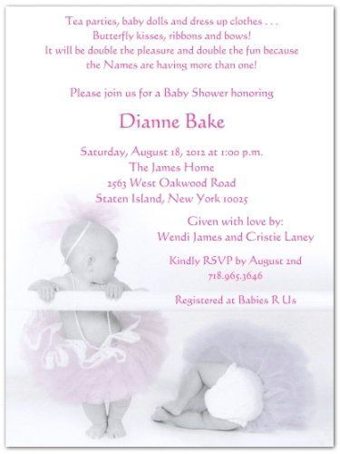 2 Ballerina Babies Baby Shower Invitations - Set of 20 by Storkie Express. $35.80. Baby Shower Invitations: Twin Ballerinas features 2 adorable little girls dressed in pastel colored (pink & purple) tulle tutu's. The little girl on the left in the pink t
