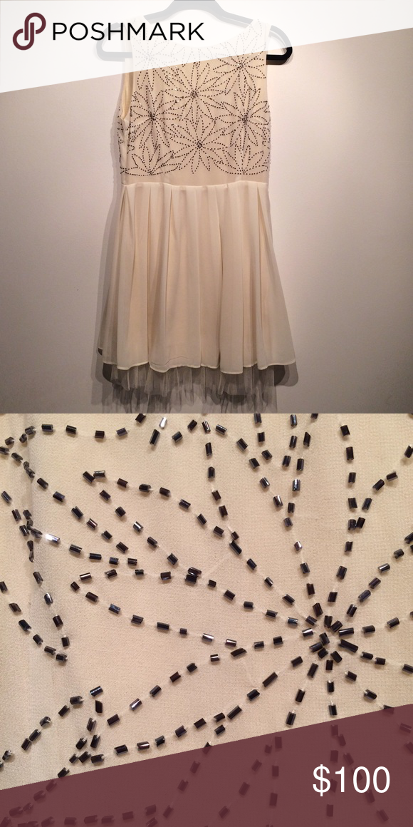 f872b6c652 Beaded Ivory Dress with soft tulle lining Perfect condition. Incredibly  soft lining. TFNC London. Chiffon and soft tull detail on bottom Topshop  Dresses ...