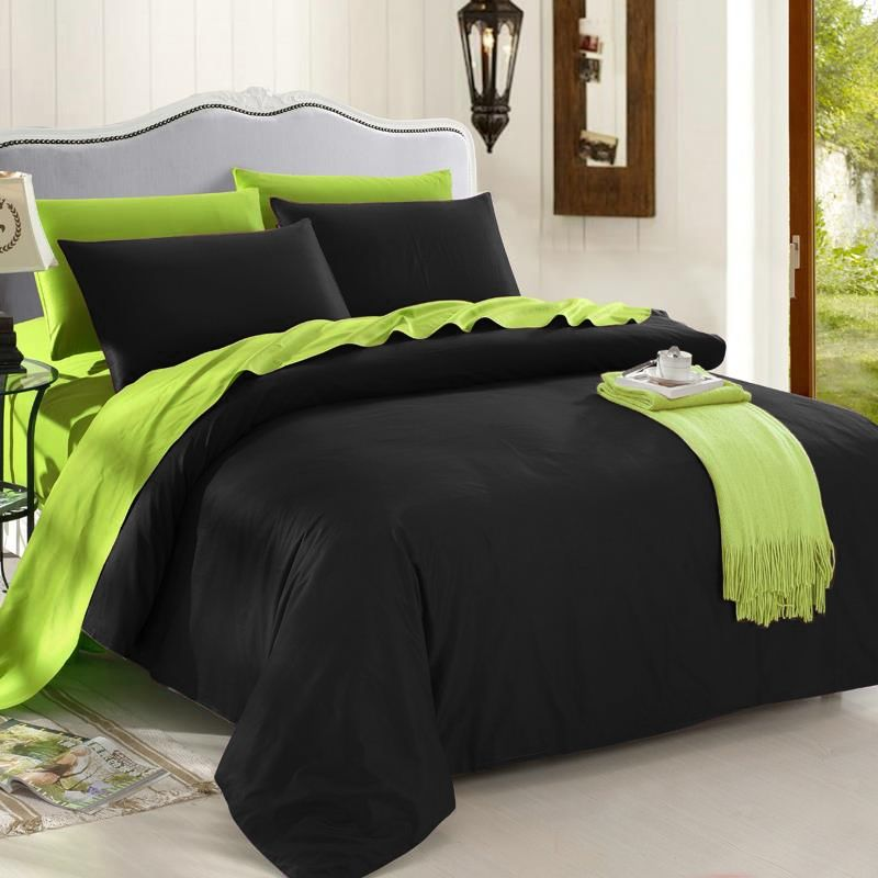 Trendy Black And Lime Green Solid Colored Reversible 100 Organic Cotton Full Queen King Size Bedding Sets Black Bedroom Furniture Set Black Bedroom Sets King Size Bedding Sets