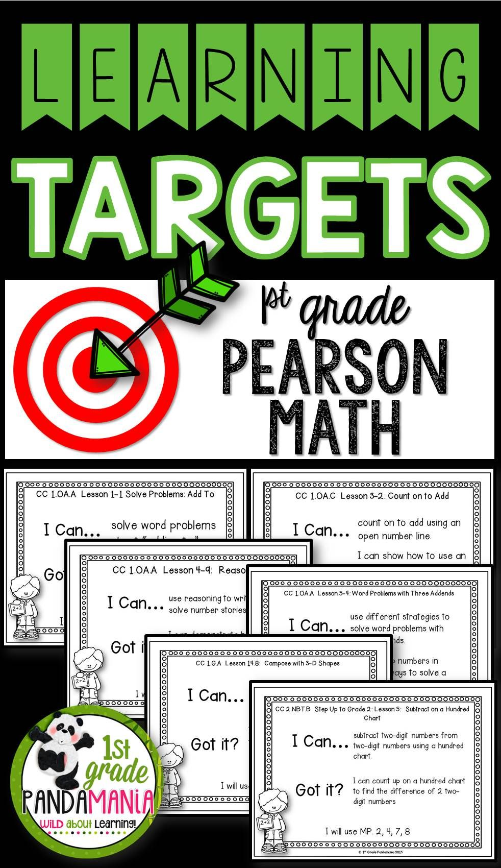 Pearson Math Learning Targets 1st Grade Learning Targets