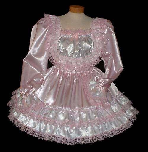 """HEATHER"" baby PINK Ruffle Butt Dress | Cute Sissy Dresses ... Ruffled Satin Housemaid"