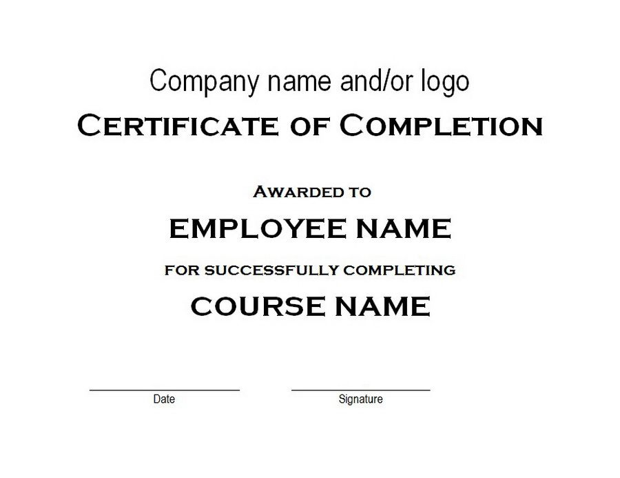 Certificate of Completion | Free Word Templates Customizable