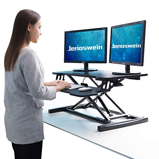 Amazon Com Jenoswein Height Adjustable Standing Desk For Dual