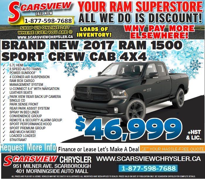 Brand New 2017 Ram 1500 Sport Crew Cab 4X4 with Grey