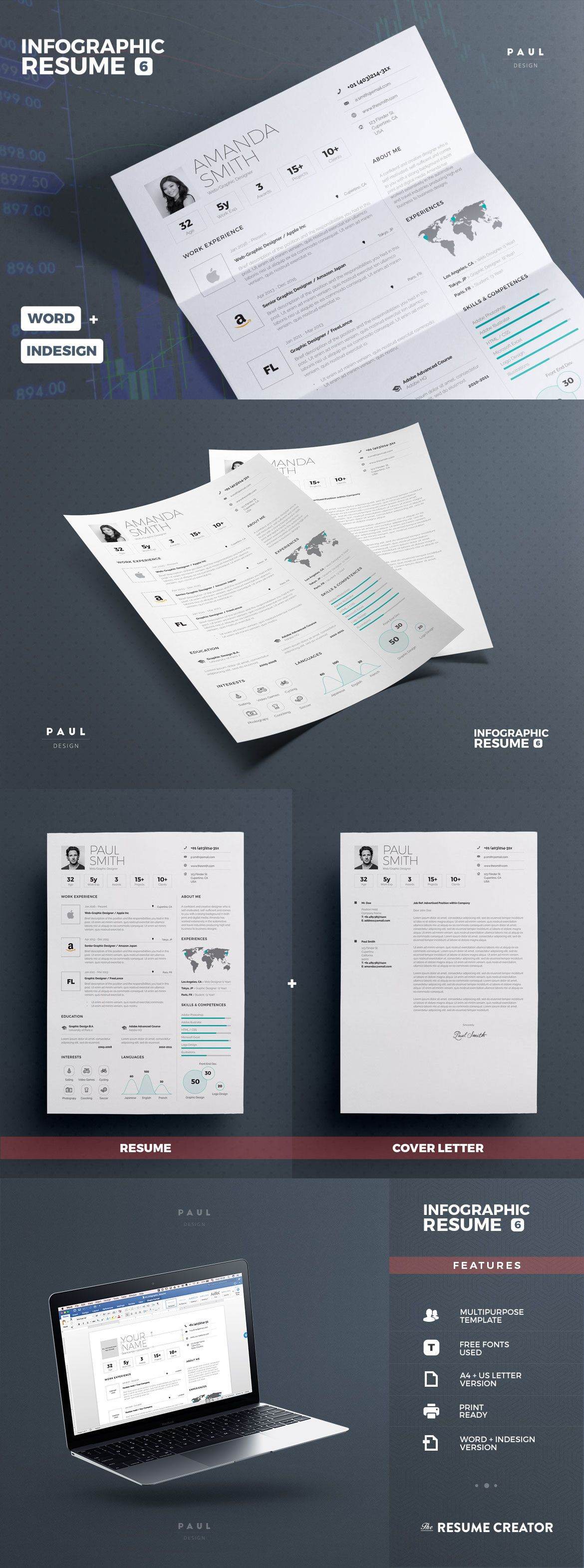 Infographic Resume  Cv Template Indesign Indd Ms Word  Resume