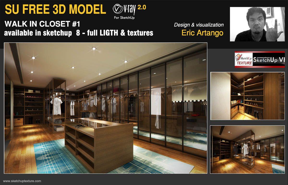 Free sketchup 3d model modern walkin closet 1 Designed