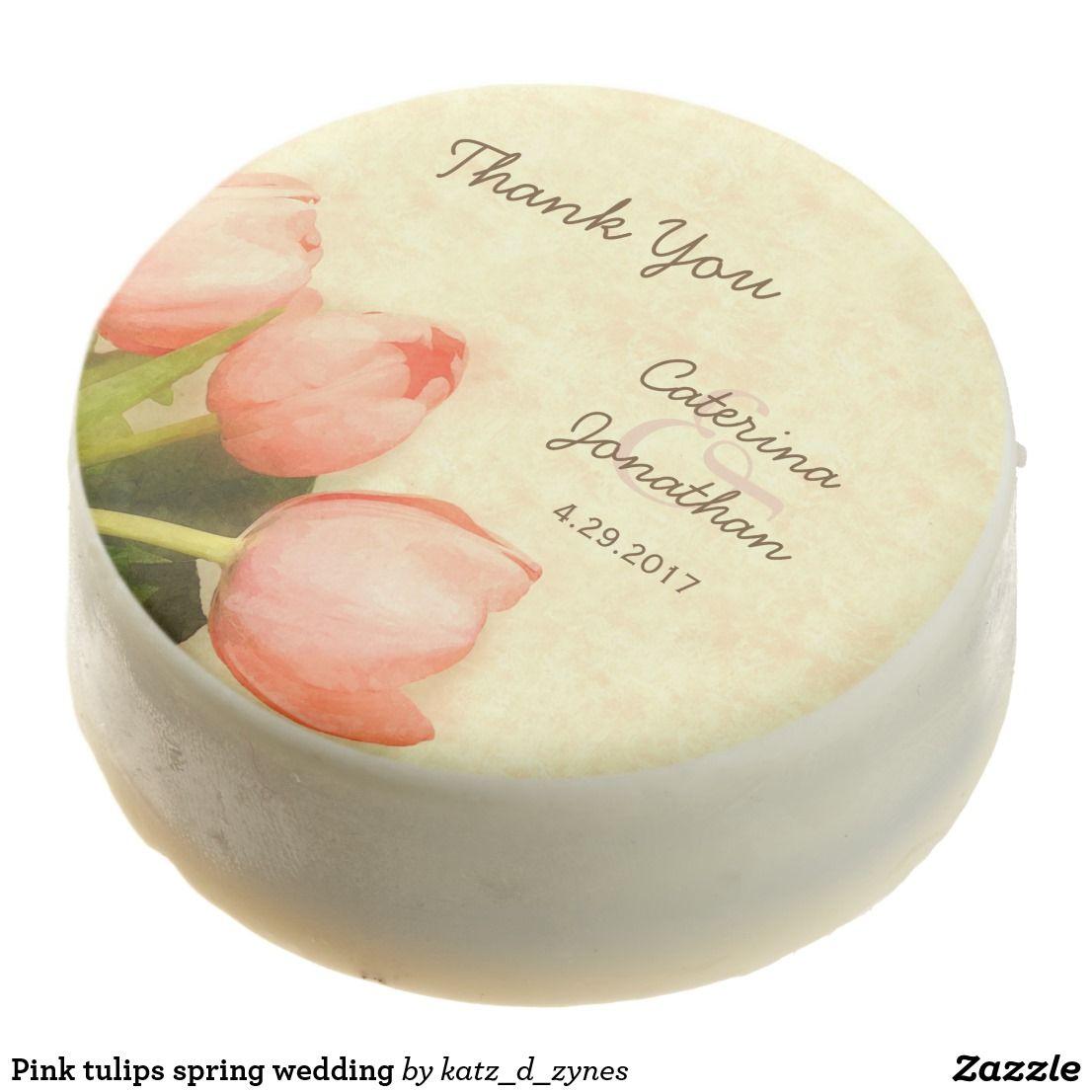 Pink tulips spring wedding chocolate covered oreo | Spring wedding ...