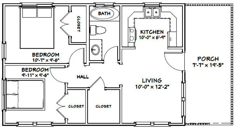 30x20 House 2 Bedroom 1 Bath 600 sq ft PDF Floor Plan Instant Download Model 2B