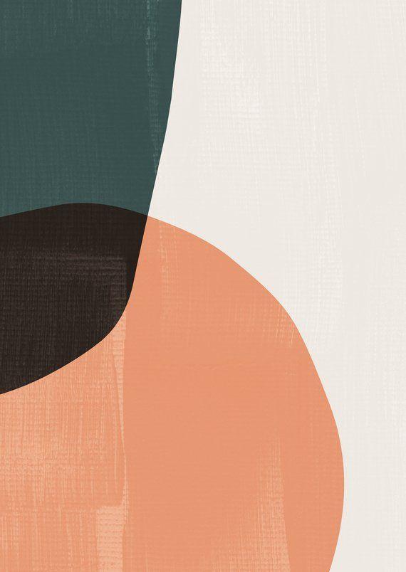 Mid Century Modern Art Abstract Ovals Print Geometric Art Prints Modern Prints Teal Art Shapes Art Abs Geometric Art Prints Teal Art Modern Art Prints