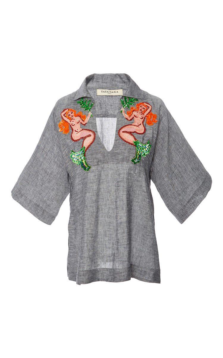 Beaded Embellishment Kaftan Top by TATA NAKA for Preorder on Moda Operandi