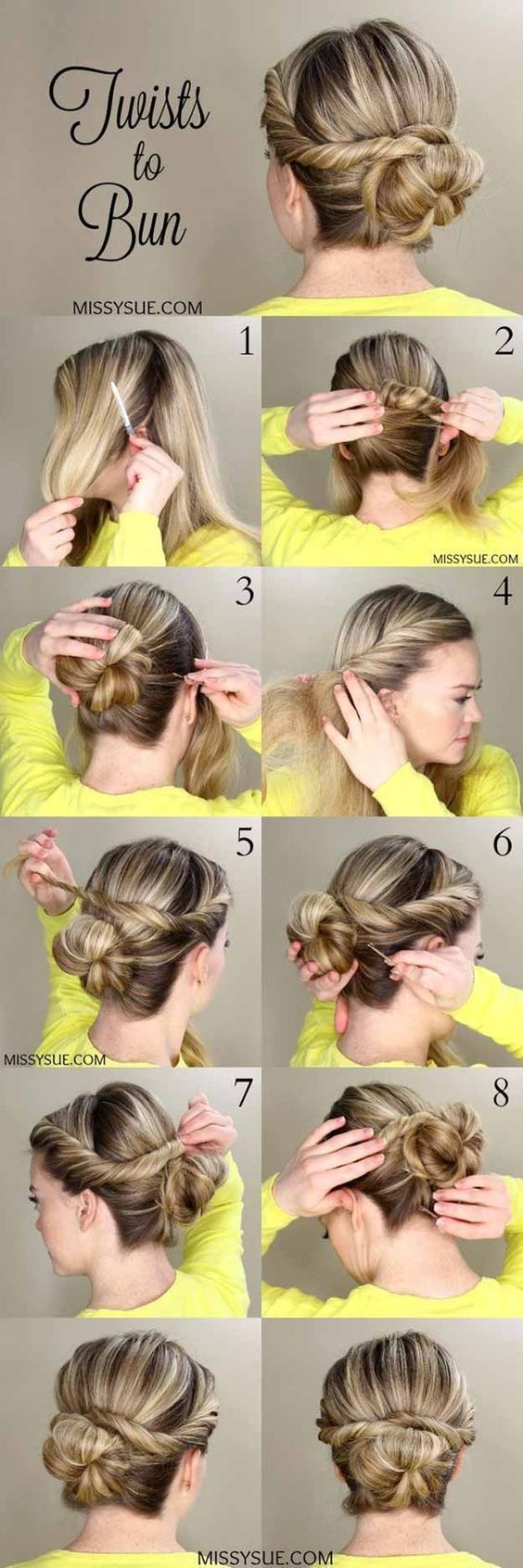 Best pinterest hair tutorials twists to bun check out these