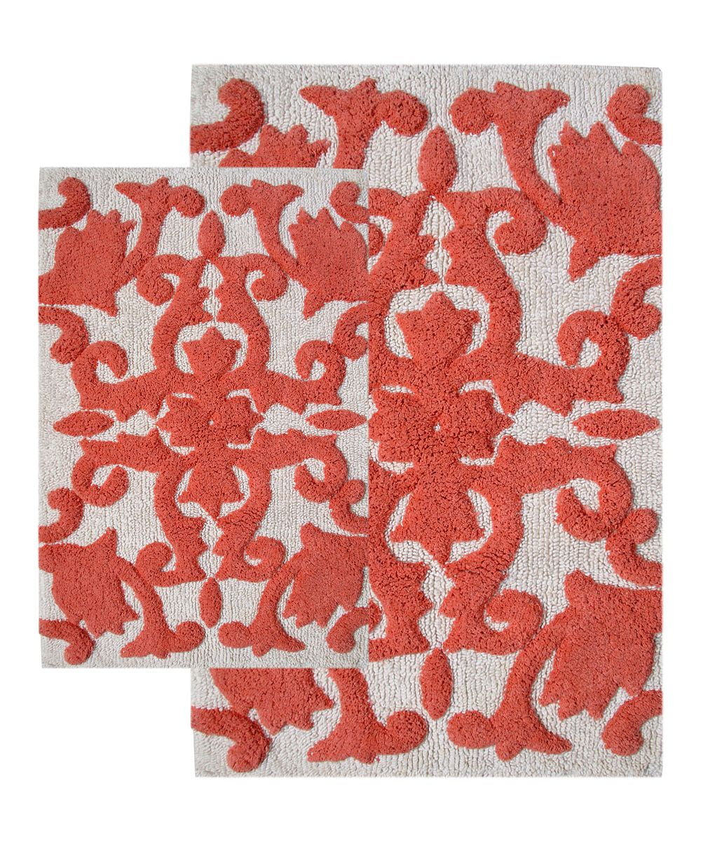 White Coral Iron Gate Bath Rug Set Bath Rugs And Products - Coral bath mat for bathroom decorating ideas