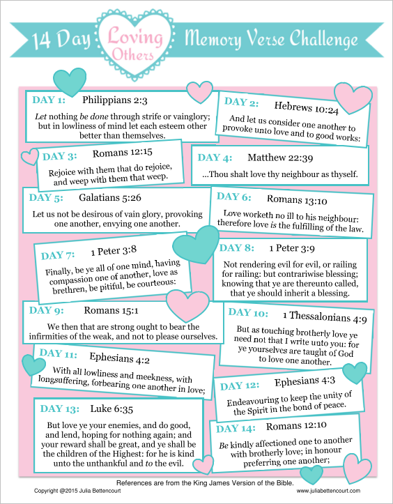 Love Bible Verse Challenge The 2015 Verses Concentrate On Loving Others You Can Pick Up Printable For This Early Valentinesday Womensministry