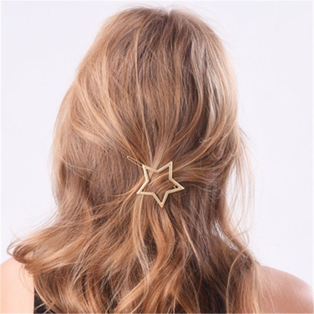 1 0 Aud Women Gold Star Heart Hair Clip Barrette Hairpin Bobby