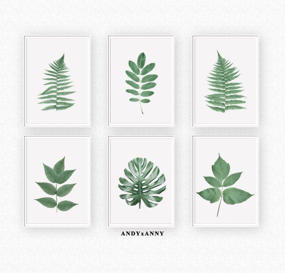 Set Of 6 Prints,Printable Wall Art,Botanical Print,Leaf