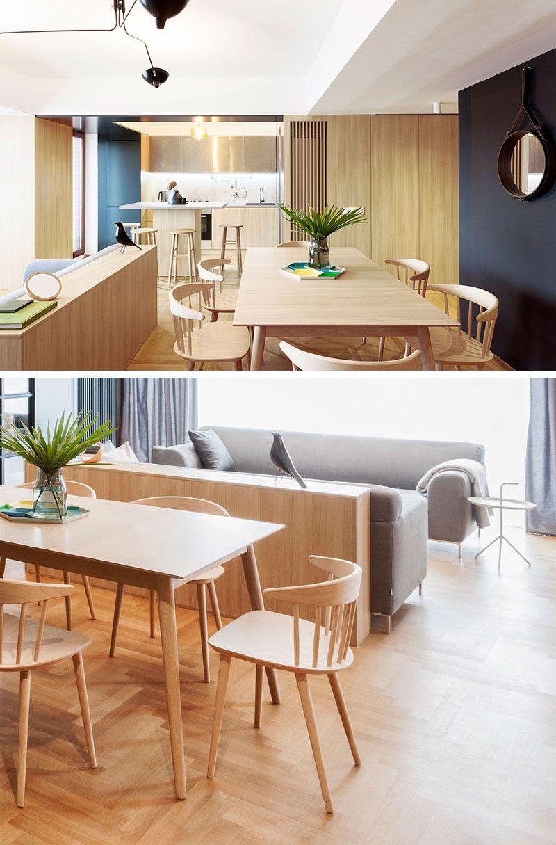 Apartment interior design idea build a small wall as a room