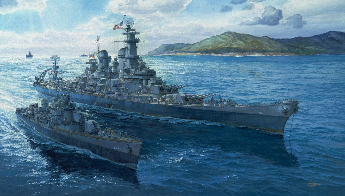 Uss Missouri Fonds D Ecran Arrieres Plan 1425x810 Id 194428 Navire De Guerre Paysage De Mer Peinture Arriere Plan