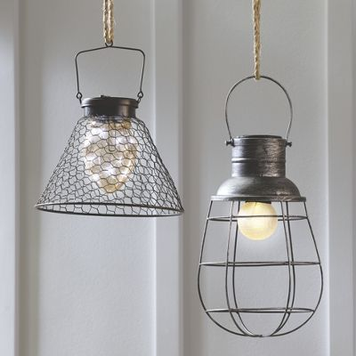 Outdoor Lighting - Industrial-style solar lanterns with loop hangers