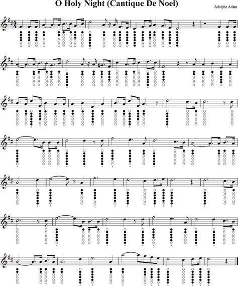 Free Christmas Violin Sheet Music O: O Holy Night Sheet Music For Tin Whistle