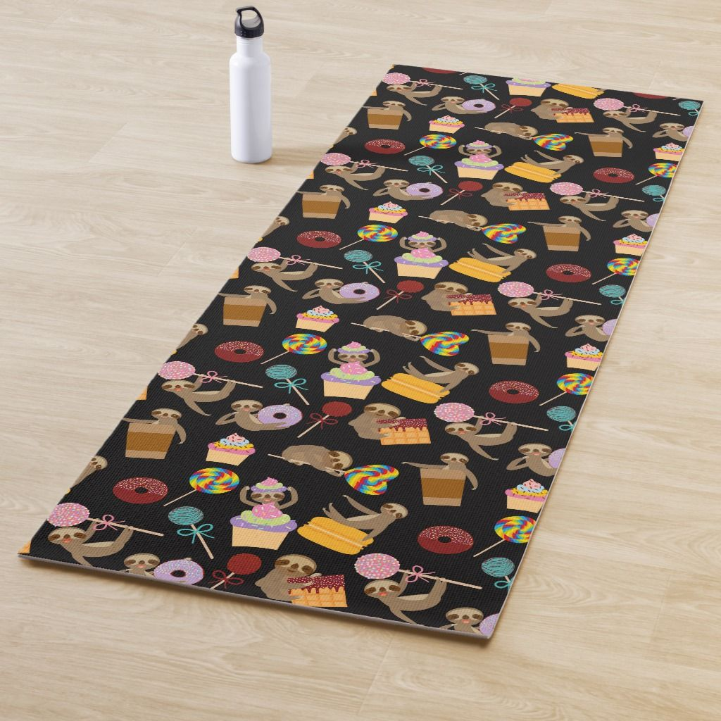 Sloth Sweet Treats Pattern Yoga Mat Zazzle Com Sweet Treats