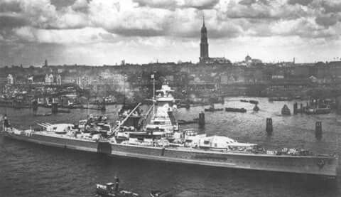 Late May 1939: Admiral Graf Spee in Hamburg, Germany welcoming troops of the Condor Legion home from Spain.