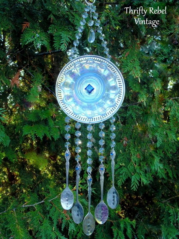 Wind Chime made with vintage silver and gkass plates and silverware