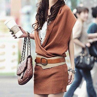 Вязанное платье свитер с поясом - RUB p. 1 683,38