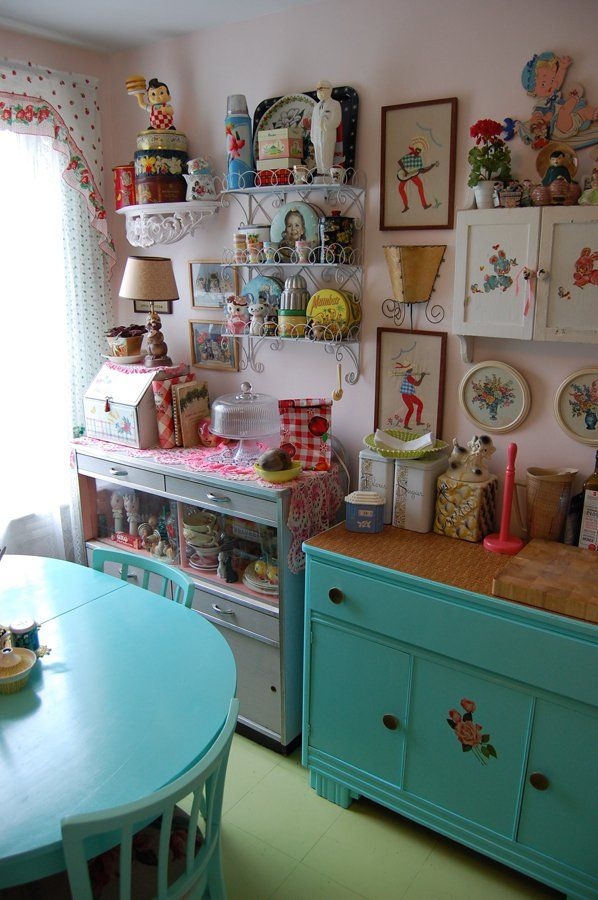 Kitschy Kitchen Super Cluttered But Love All Of The Knick Knacks