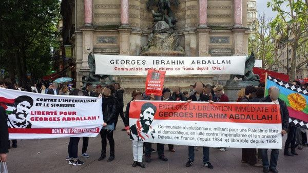 Paris protest for Georges Abdallah, imprisoned in France from 1984. Parole in 2003 was blocked by USA