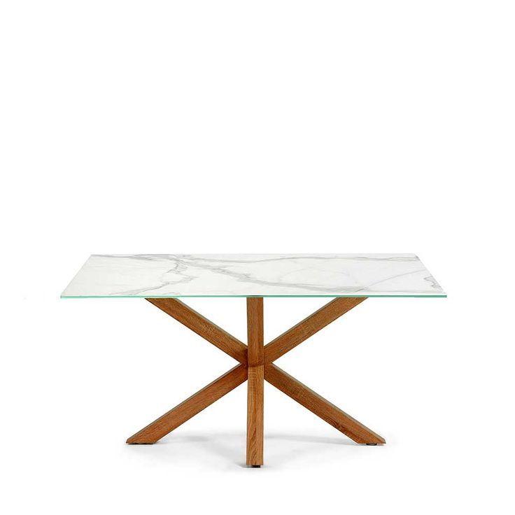 Esstisch mit Glasplatte in Marmor Optik Stahl Eiche Sonoma