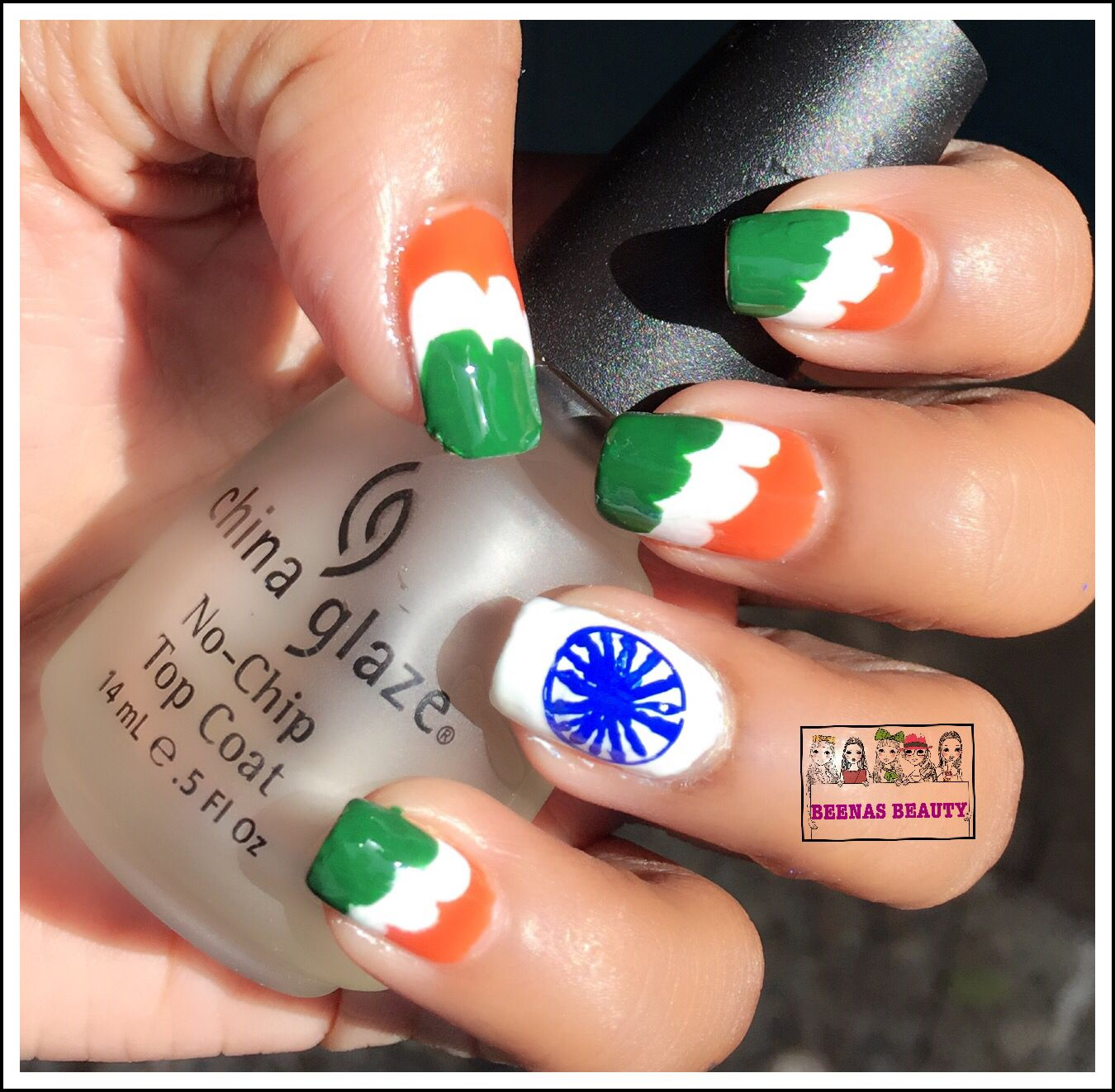 Happy 70th Independence Day India Flag Mani Free Hand Nail Art