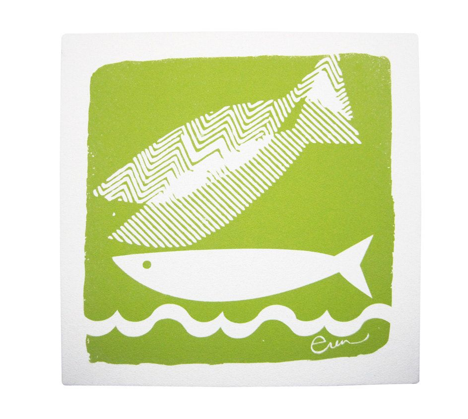 Fish Wall Art, Stretched Cotton Bark Cloth on Wooden Frame, 19x19 ...