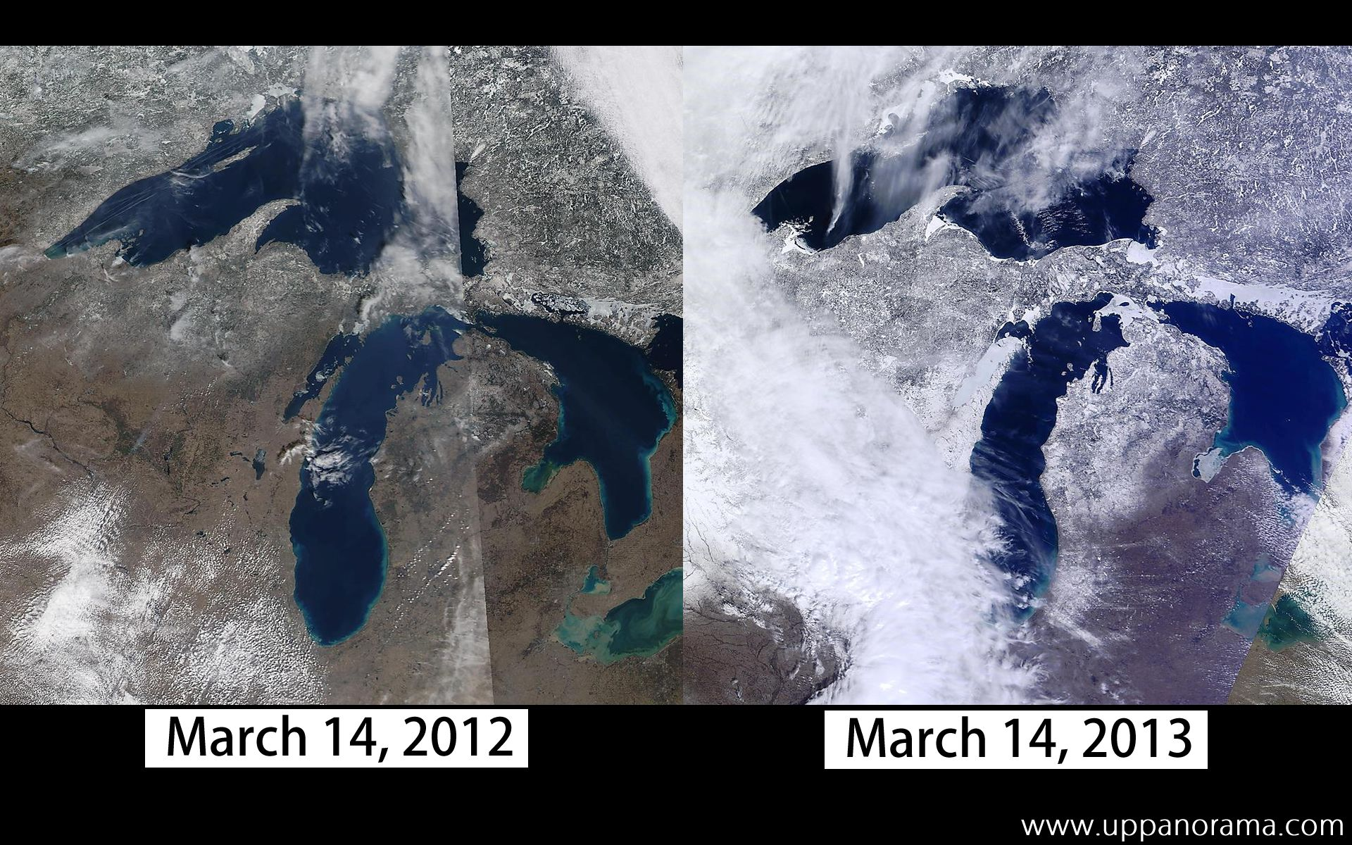 This year, 2013, we have a lot more snow on the ground in March than the previous year. This time last year we were seeing temperatures 50F and above. In the past week, we have had nearly 2 feet of snow. These satellite images illustrate the differences between March 2012 and March 2013.