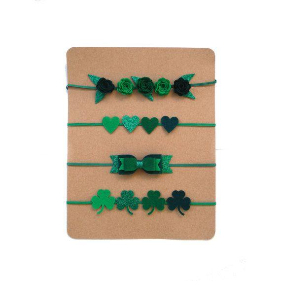 St. Patty's Day Headband | Felt and Glitter Headband | Felt Flower Crown | Clover Headband | Shamrock Headband | Heart Headband | Green Bow