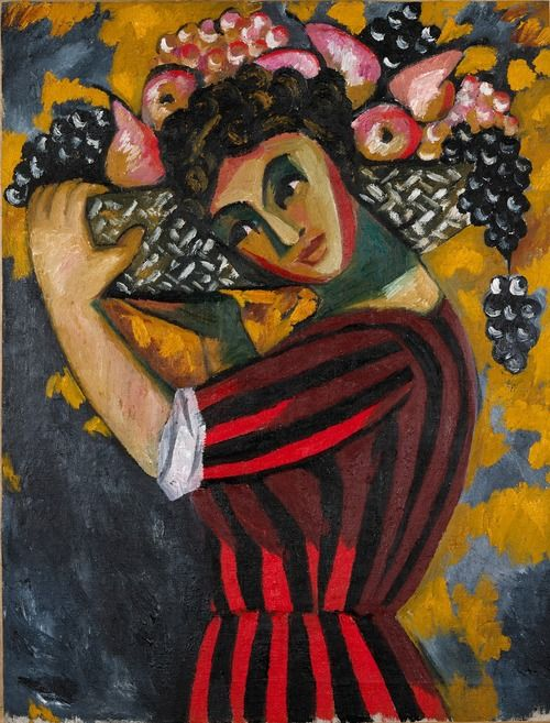 Natalia Goncharova (1881-1962) Woman with Fruit (1910) oil on ...