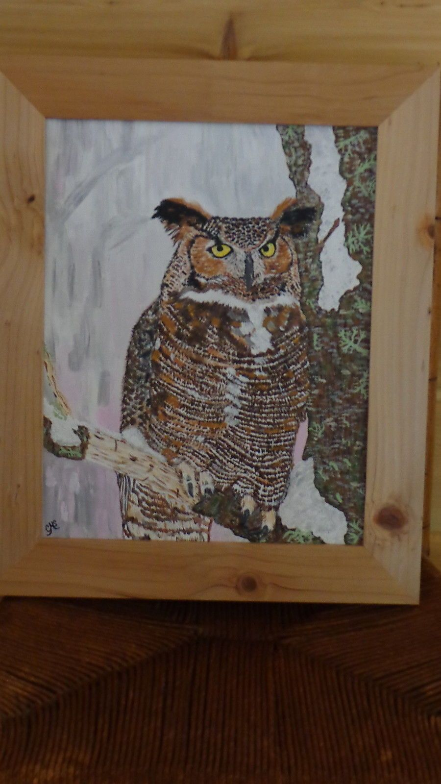 Great Horned Owl Perched on a Limb (11 x 14) Painting by the Artist
