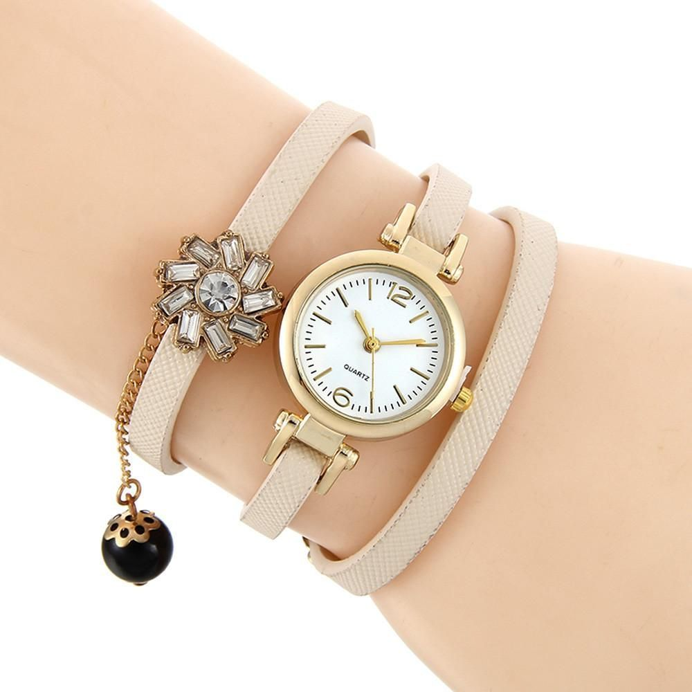 Women Rhinestone Braided Leather Analog Quartz Bracelet Bangle Wrist Watch