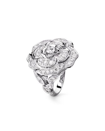 b13327c9ff7ee3 CHANEL BOUTON DE CAMELIA LARGE RING IN 18K WHITE GOLD AND DIAMONDS. #chanel  #