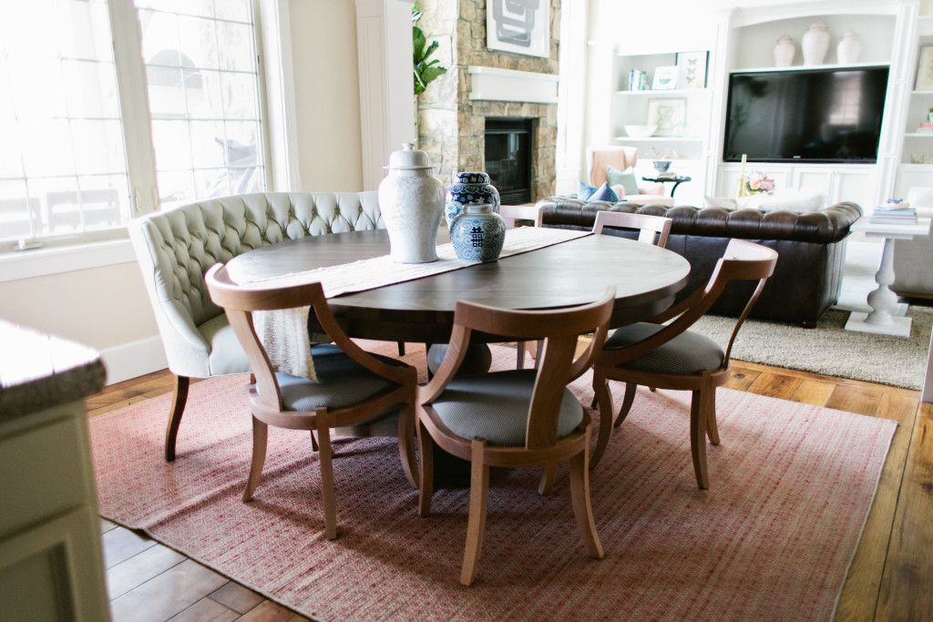 Mixing Dining Tables Chairs House Of Jade Interiors Blog Round Dining Room Table Settee Dining Dining Table With Bench Dining table with couch seating
