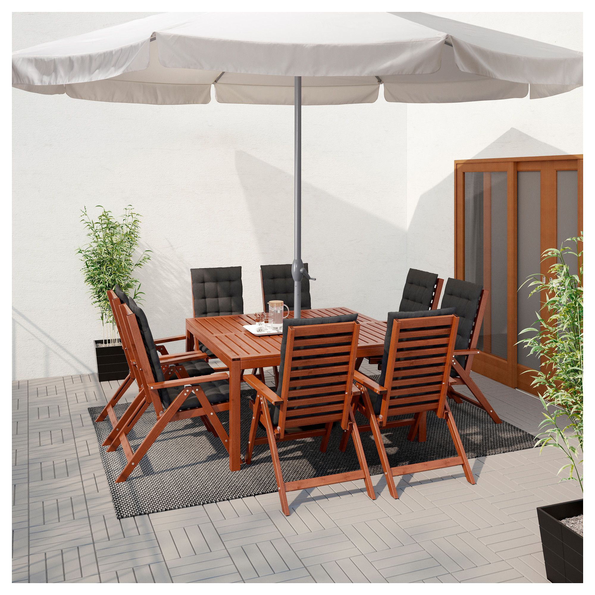 Ljustero Sonnenschirm Mit Stander Beige Loko Grau Terassenideen