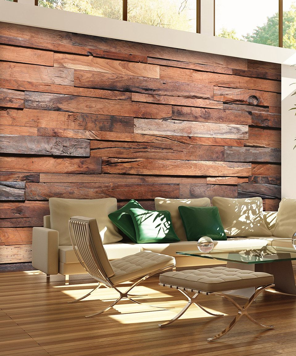 Reclaimed wood wall living room - Brewster Home Fashions Reclaimed Wood Wall Mural