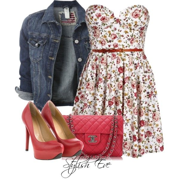 floral dress and jean jacket...great country outfit for #seniorpictures
