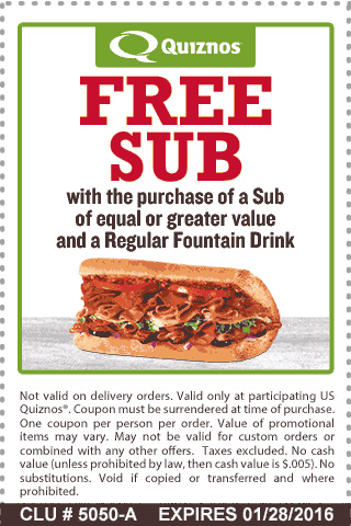 photo relating to Quizno Printable Coupons titled Pinned January 15th: Instant sub absolutely free at #Quiznos #coupon by means of