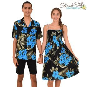 65ee8292d2c8 Black & Blue Leaf Matching Set Hawaiian Party Clothing Luau ...
