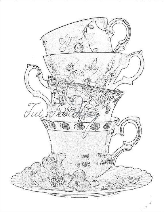 Sketched Teacups, Digital Image for Instant Download, JPG